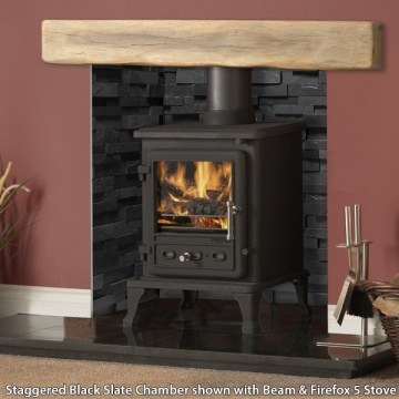 Gallery Staggered Black Slate Fireplace Chamber Panels